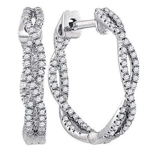 Dazzlingrock Collection 0.27 Carat (ctw) 10K Round White Diamond Ladies Micro Pave Swirl Hoop Earrings 1/4 CT, White Gold