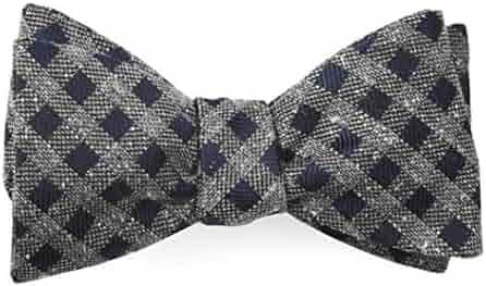 fecc6f520dcd The Tie Bar 100% Spun Silk Cement Checks Navy Self-Tie Bow Tie
