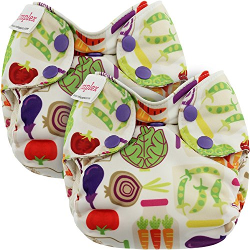 Blueberry Newborn Simplex All in One Cloth Diapers, Bundle of 2, Made in USA (Veggies)
