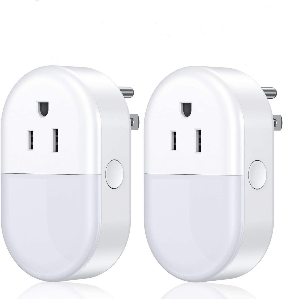 POWERADD Smart Plug,Wifi Smart Outlet Plug with Night Light That Works with Alexa,Google Home,Echo,Remote Control Wireless Smart Switch Socket 2.4Ghz 2 Pack