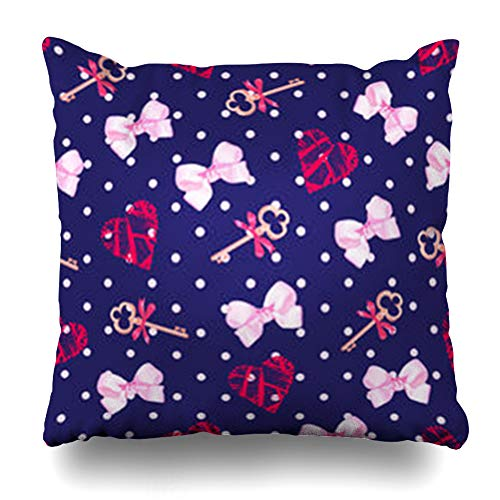 Aika Designs Throw Pillows Covers Pillowcase Red Cute Navy Keys Valentines Heart Pink Satin from Bows Pattern Polka Dot Girly Blue Home Decor Zippered 18