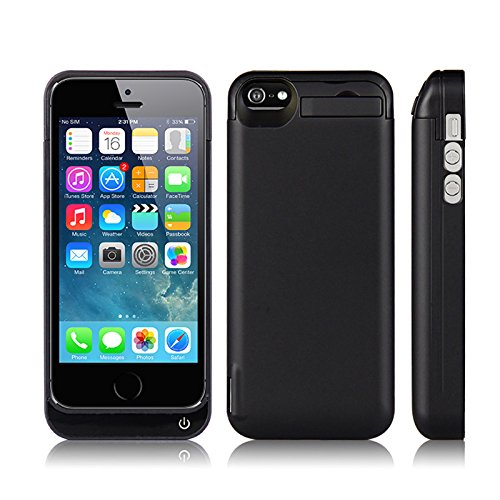 iPhone 5/iPhone 5s Battery Case, FugouSell 4200mAh Portable Rechargeable Extended Backup Battery Charging Juice Pack External Power Bank Protective Case Cover for iPhone 5/iPhone 5s(Black)