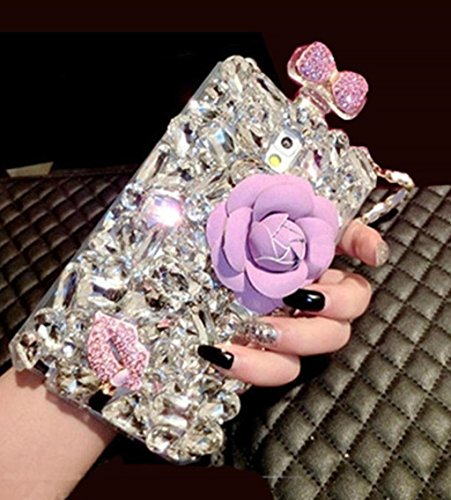 For Galaxy Note8 Case, Omio Princess Perfume Bottle Shell 3D Handmade Luxury Glitter Crystal Diamonds Rhinestone With Chain String Lovely Flower Bling Bowknot Shiny Lip Cover For Samsung Galaxy Note ()