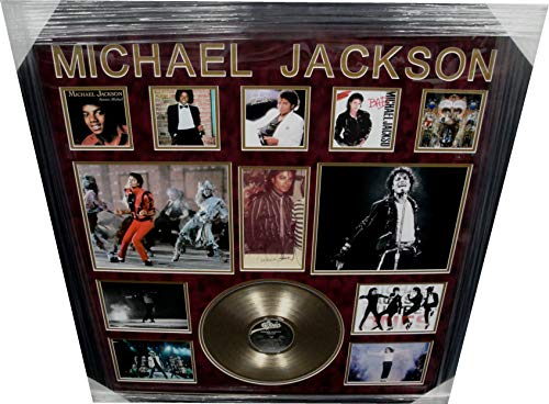 Michael Jackson Hand Signed Auto Autograph 36x38 Collage w/Record Thriller