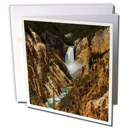 Lower Falls Yellowstone National Park (3dRose Lower Falls Yellowstone National Park - Greeting Cards, 6 x 6 inches, set of 12 (gc_17296_2))