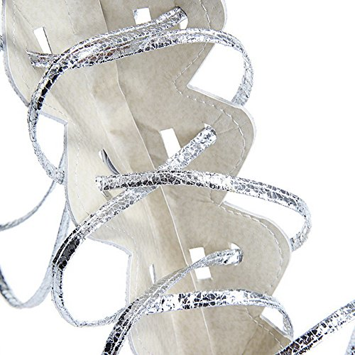 AllhqFashion Womens Pu Solid Lace Up Open Toe No Heel Sandals Silver 6PC0Cn7d