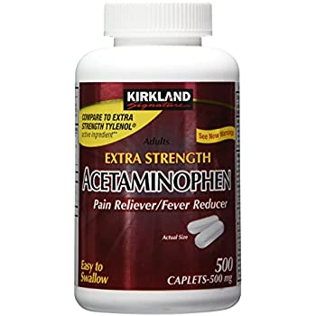 Kirkland Signature Extra Strength Acetaminophen 500MG Caplets, 500-Count Bottle