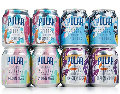 POLAR 100% Natural Seltzer Jr 24 ct Variety Pack The Impossibly Good Collection (Unicorn Kisses, Pixie Lights, Mermaid Songs, Dragon Whispers)