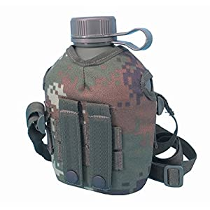 Phoenix Outdoor 1L Full Military Aluminium Genuine Chinese PLA Type 10 Water Canteen With Reinforced Nylon Sheath & Belt Loop-Portable Hiking And Camping Outdoor Water Bottle