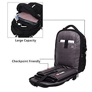 TSA Friendly ScanSmart Laptop Backpack - Fits Most 17 Inch Laptops and Tablets Water Resistant (Black/Blue) (Black)