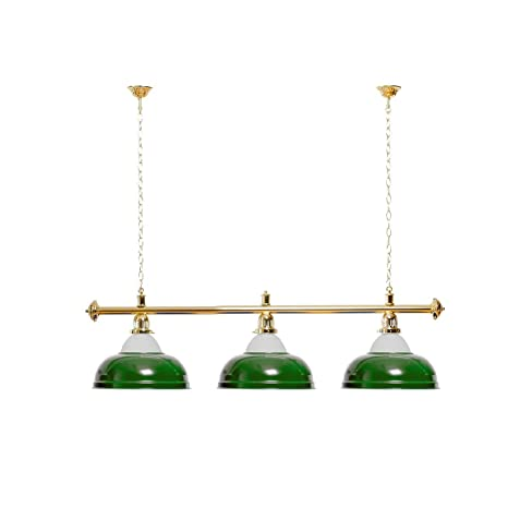 Billar lámpara 3 Pantallas Verde con Vidrio/goldfarbene Soporte ...