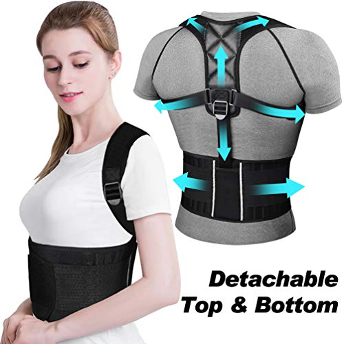 Ikeepi Posture Corrector for Women and Men,Upper Back Brace with Shoulder and Lumber Support Belt,Adjustable Back Straightener Under Clothes and Providing Pain Relief from Neck, Back & Shoulder