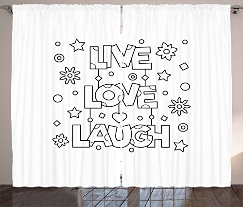 """Ambesonne Live Laugh Love Curtains, Doodle Style Words with Flowers Hearts and Stars Coloring Book Design, Living Room Bedroom Window Drapes 2 Panel Set, 108"""" X 90"""", Black and White"""