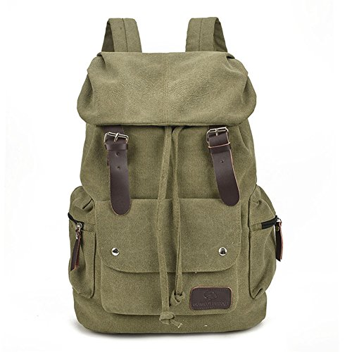 Price comparison product image Canvas Backpack Casual Shoulder Bag for Girls and Boys Large Capacity Travel Daypack for Middle School College Book Bags (Army green)