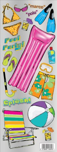 Mylar Sticker Sheet (Jillson Roberts Cardstock Mylar, Pool Party, 12-Sheet Count)
