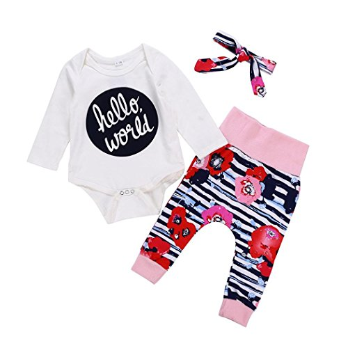 WARMSHOP Hello World Baby Girls Outfit Long Sleeve Letter Print Cotton T-Shirt Romper+Flower Pattern Pants+Headband 3 PC Set (0-6 Months, White) ()