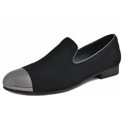 0fad9bde8e832 Fulinken Black Men Leather Slip on Loafers Shoes Rhinestone Slippers Shoes