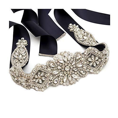 (Yanstar Handmade Silver Rhinestone Crystal Pearls Wedding Bridal Belt Sash With Navy Ribbon Sashes for Evening Party Prom Bridesmaid Dress )