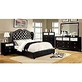 Furniture of America Roselie 4-piece Black Leatherette Bedroom Set Queen
