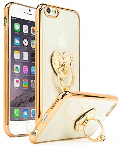 Aikeduo for iPhone 6plus 6s plus 5.5 inch Case, Bastex Slim Fit Clear Plastic TPU Gold Bumper Case Cover with pink Bling Heart Ring Holder Kickstand (golden) (Pink Case Bling Iphone6)