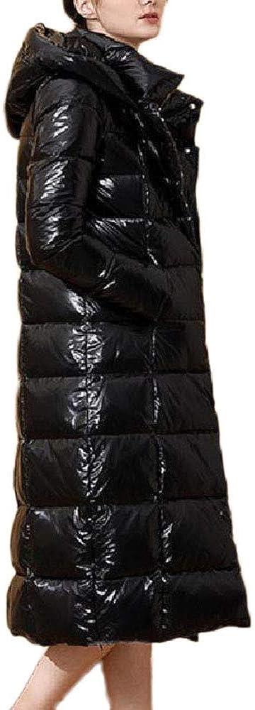 Veste d'hiver vers Le Bas Femmes Brillant Moyen à Long Slim Fit Long Genou Thicken Veste décontractée à Capuche Brillant Manteau Couleur Massif Black