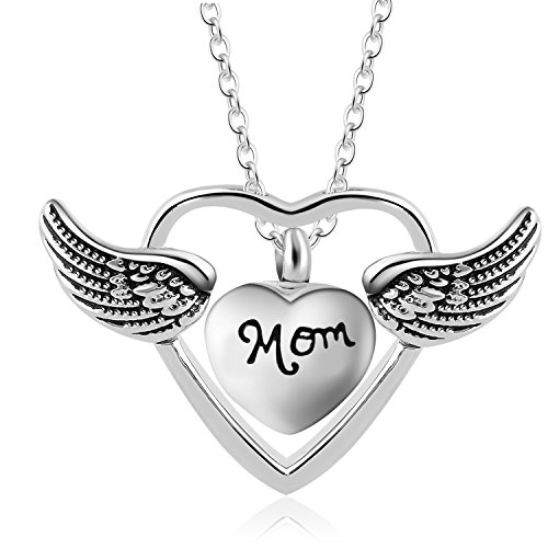 Eternally A Piece of My Heart Lives in Heaven Religious Angel Wing Ashes Urn Cremation Necklace Jewelry (Mom)