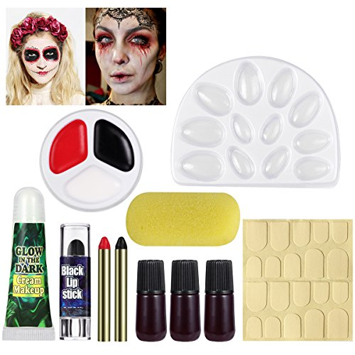 Zombie Make Up For Women (UNOMOR Halloween Makeup Kit with Fake Blood and Glow in Dark Nails for Witch Vampire Makeup)