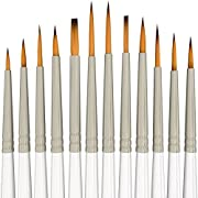 Amazon Lightning Deal 91% claimed: Detail Paint Brush Set - 12 Miniature Brushes for Art Painting - Acrylic, Watercolor, Oil