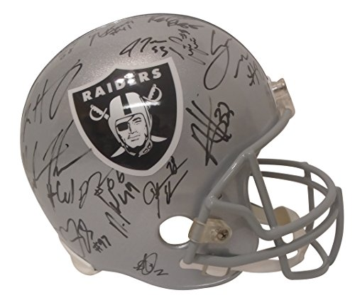 - 2017 Oakland Raiders Team Autographed Hand Signed Riddell Full Size Football Helmet with 32 Signatures Total and Proof Photos of Signing, COA, Derek Carr, DeAndre Washington, Jalen Richard