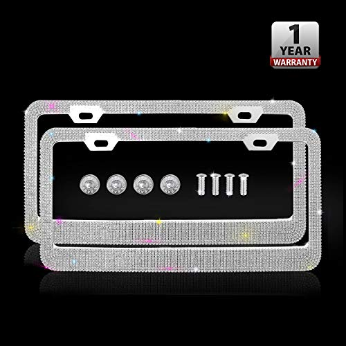 Indeedbuy Bling License Plate Frames, Luxury Handmade Waterproof Glitter Rhinestone Crystal Premium Stainless Steel Licence Plate with Anti-Theft Screw Caps for Front and Back License
