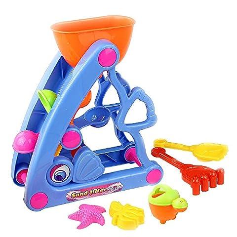 KateDy 6pcs/1 Pack Baby Beach Toy Fish Hourglass Bath Toy Bucket Playset Assorted Colorful Baby Kids Plastic Shovel Random - Mini Bubble Bucket