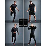 BUYJYA 5Pcs Men's Compression Top Pants Long Sleeve