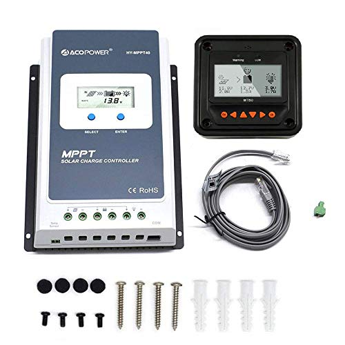 255w Solar Panel - ACOPOWER 40A MPPT Solar Charge Controller HY-MPPT40A+ Remote Meter MT-50 Solar Charge With LCD Display for Solar Battery Charging