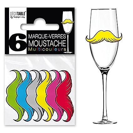 6 marcas vidrio bigote sujetadores