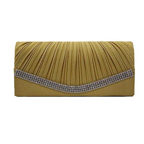 Evening Wedding Pleated Bag erthome Clutch Bridal With Satin Rhinestones Purse Gold qEtdxR