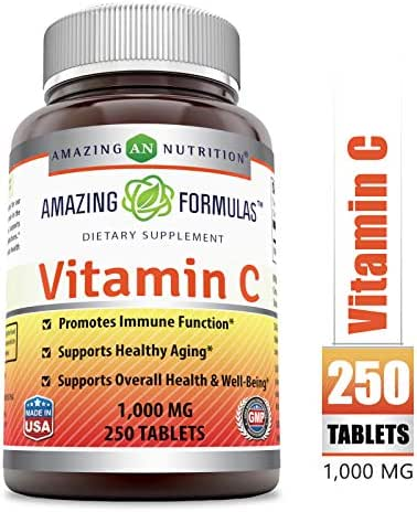 Amazing Formulas Vitamin C 1000 Mg,Tablets - (Non-GMO,Gluten Free) Vegan - Promotes Immune Function- Supports Healthy Aging- Supports Overall Health & Well-Being(250 Count)