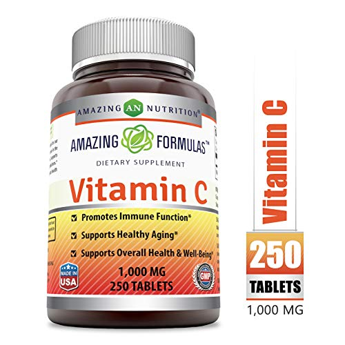 Amazing Formulas Vitamin C 1000 Mg, Tablets - (Non-GMO) Vegan - Promotes Immune Function* - Supports Healthy Aging* - Supports Overall Health & Well-Being* (250 Count)