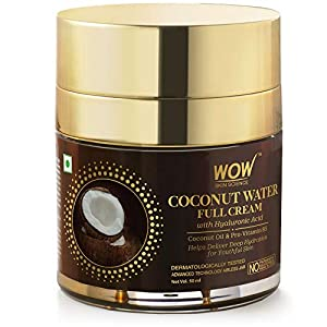 WOW Skin Science Coconut Water Full Cream with Hyaluronic Acid for Deep Hydration & Youthful Skin, 50 ml