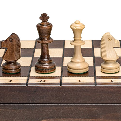 Large European Wooden Chess and Checkers Set - 19.7