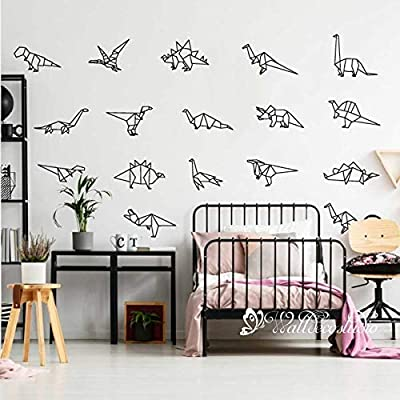 Dinosaurs Collection Wall Sticker-Origami Dinosaurs Nursery Decal Art-Geometric Origami Dinosaurs Wall Decal Art-Dinosaurs Vinyl Sticker: Handmade
