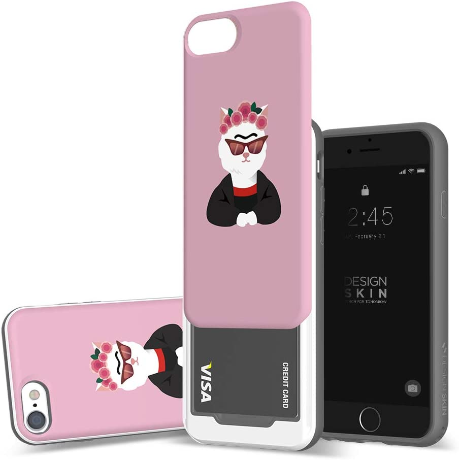 DesignSkin iPhone SE 2020 / iPhone 8 Sliding Card Holder Case, Extreme Heavy Duty Triple Layer Bumper Protection Wallet Cover with Storage Slot for Slider iPhone SE 2020/8/7/6 - Frida Kahlo/Kitty
