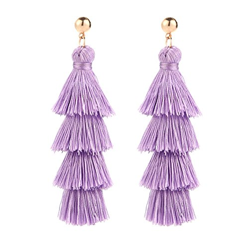 (BaubleStar Fashion Gold Tassel Dangle Earrings Layered Long Bonita Tiered Lavender Purple Thread Tassel Drop Statement Jewelry for Women)