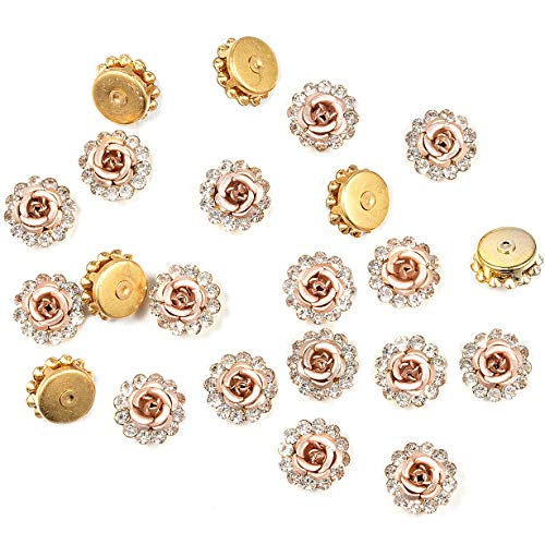 (115Pcs Crystal Rhinestones Sew on, Bright Rhinestones Flatback Beads Buttons with Rose Flower DIY Craft for Clothes Garment, Clothing, Bags, Shoes, Dress, Wedding Party Decoration (Pink Rose))