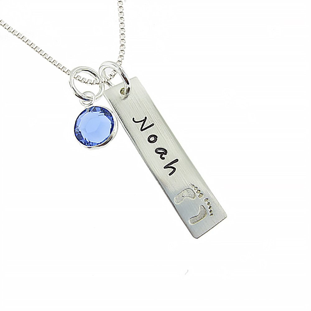 My Tiny Prints Personalized Sterling Silver Name Necklace. Customize with Child's Name, Engraved with Solid Baby Feet. Add Your Choice of Birthstone and Sterling Silver Chain. Gifts for Her, New Mom