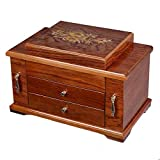 """FDInspiration Cherry 14"""" Wooden Jewelry Case Storage Box Mirror Top Lid w/ 3 Layers with Ebook"""