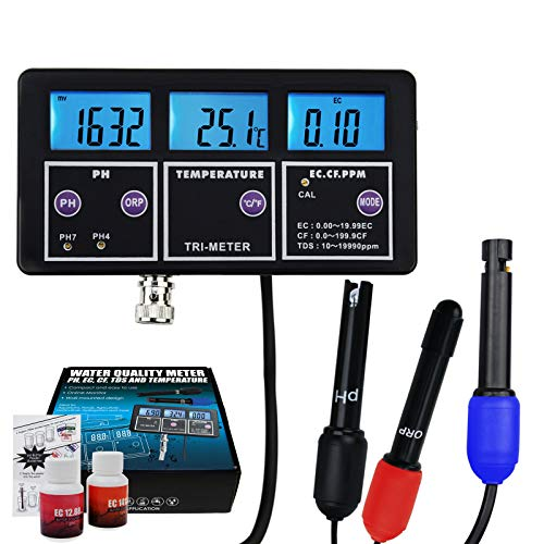 (Multi-Parameter pH/ORP/ EC/CF/ TDS PPM/Temperature Water Quality Tester BNC Electrode Rechargeable Online Monitoring Aquarium, Laboratory Hydroponics)