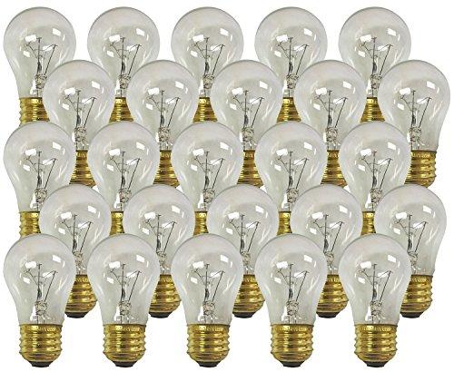 A15 Bulb 130v Light (Royal Designs Long Life Appliance and Utility Light Bulb 15-Watt Clear A-15 130V 2500 Life Hours (25-Pack) (LB-5011-25))