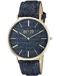 SO&CO New York Unisex 5103.5 SoHo Quartz Blue Denim Covered Genuine Leather Strap Watch