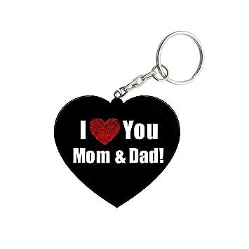 Shoptwiz I Love You Mom And Dad Wooden Heart Key Ring Amazonin