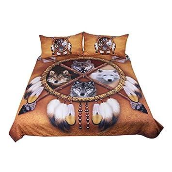 Sleepwish Wolf Dream Catcher Bedspread Native American Bedding Wolf Quilt Cover Golden Wolf Bedding Duvet Cover Twin,55x82 3pcs, 4 Wolves Dreamcatcher
